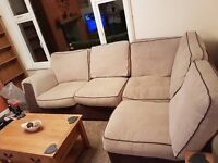 Chocolate/cream L-corner settee with matching love chair and puffet - all for £300 O.N.O