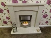 Marble Fire Place, Hearth and Electric Fire Package