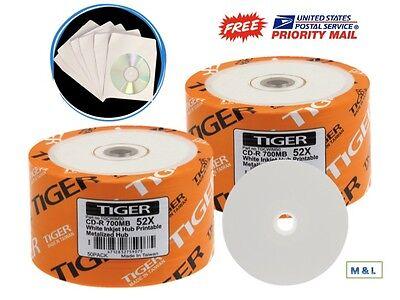 400-PK 52X Tiger White Inkjet Hub Printable Blank CD-R Disc + 400 Paper Sleeves ()