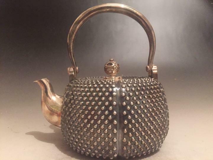 Antique Vintage Japanese Sterling Silver Teapot 14 * 11 * 14cm 487g BOXED