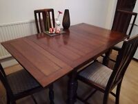 Expandable dining table + 4 chairs