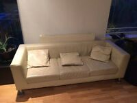 Cream Leather Sofa- Matching Glass Coffee table- Good looking Stand