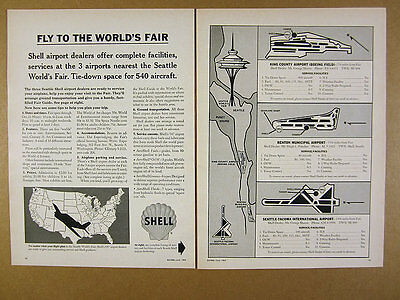 1962 Fly to the Seattle World's Fair maps Shell Airport Dealers vintage print Ad