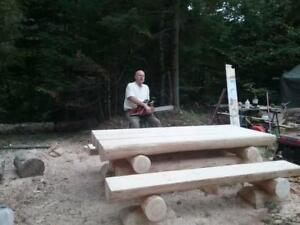 HANDCRAFTED LOG PICNIC TABLES