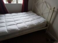 Small double (4 foot) bed with mattress and brand new unused duck down mattress topper