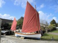 Beautiful Cygnus 15 lug rigged GRP sailing boat