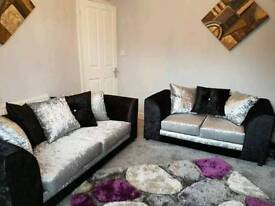 3+2 seater black and silver