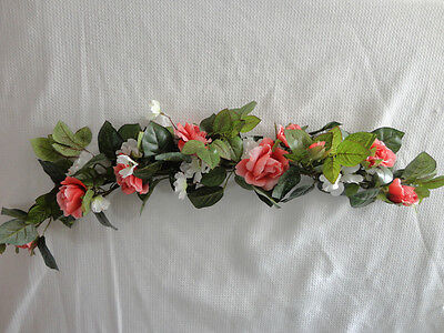 Home Interiors  32'' Pink Roses & White Flowers'' Swag/ Accents
