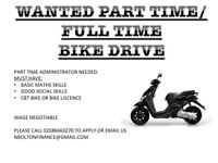PART TIME OR FULL TIME BIKE DRIVER