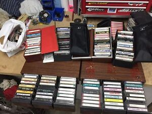 200+ music cassettes and holders