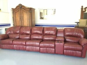 Large leather modular couch with individual recliners