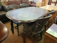 Painted pine table with 4 chairs good condition
