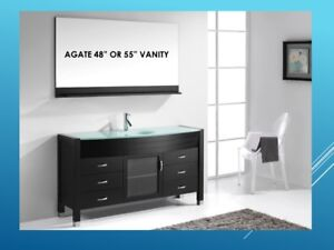 MODERN TEMPERED GLASS COUNTERTOP VANITIES-MANY MODELS AND SIZES!