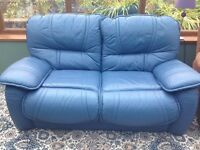 Leather blue sofa - collection Creigiau