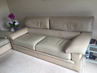 GORGEOUS ITALIAN CREAM LEATHER SUITE SETTEE 2 PIECE TWO SEATER AND THREE SEATER