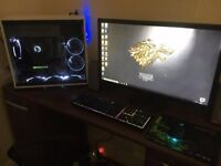Very Fast Gaming pc with Asus 27inch monitor. Black/white build theme.