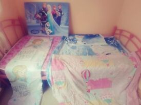 Single bed with frozen canvas, frozen bed set and curtains