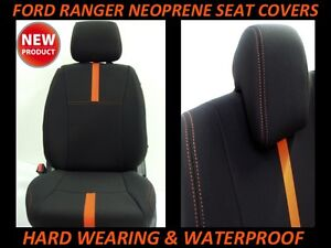 FORD RANGER PX FRONT & REAR NEOPRENE SEAT COVERS FULL COVERAGE + MAP POCKETS X 2
