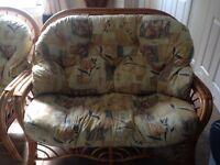 Cane furniture. 1 x double chair. 2 x single chair
