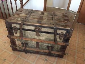 antique travel trunk and windows