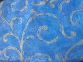 Blue Fully Lined Montgomery Curtains - 226 cm (89inches) long x 264cm (104inches) wide