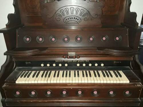 ANTIQUE WEAVER ORGAN AND PIANO CO. PUMP ORGAN circa 1890 w/stool