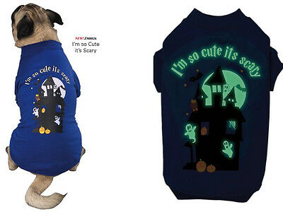 Dog Halloween (Halloween Dog Tee Shirt - Casual Canine - I'm So Cute Its Scary - Glow In)
