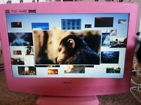 19 inc pink tv with Built in dvd and freeviwe