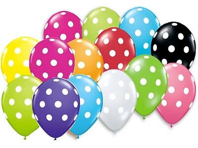 24 POLKA DOT PARTY BALLOONS U Pick Black White Red Yellow Lime Pink Blue 12
