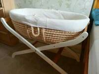 Mothercare moses basket with stand and bedding bundle
