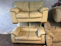 Two Piece Sofa Set Two Seaters Real leather Very comfy clean can deliver free local only
