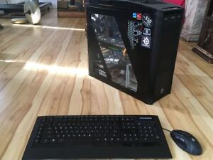 """Gaming PC, 24"""" monitor, keyoard and mouse. Incl. Win 7 Ent."""