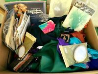 Box of fabric, patterns, mags, trimmings, rubber stamps, dye etc