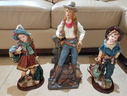 55cm COWGIRL On Horse Collectible Western Decoration, GIRL, BOY