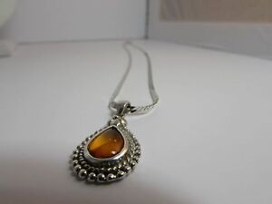 Amber Sterling Silver Necklaces (2 available)