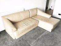 Quality leather cream corner sofa