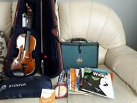 Stentor 3/4 violin. Complete with large bundle of music books, spare strings, music bag.