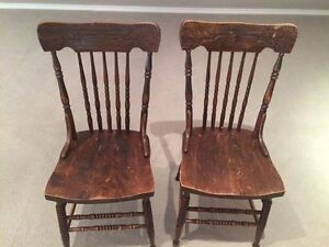 Set of 2 Antique Pressback Wood Chairs