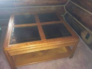 Oak Coffee Table with Smoked-Glass Inlays