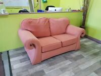 Salmon Pink 2 Seater Sofa - Can Deliver For £19