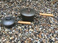 Cast iron souce pan 10 t and 30 t