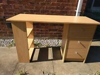 3 Drawer Dressing Table - Beech Effect - less than 1 year old - like new