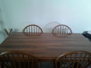 Solid wood kitchen table with chairs