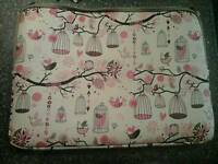 Pink and Beige, Birds & Cages Laptop Case - Pinhoe Exeter
