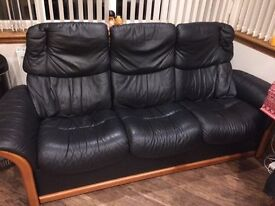 Ekornes 3 Seater Sofa in Black Leather (ex Gillies of Broughty Ferry)