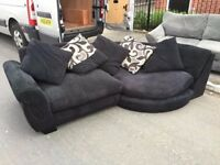 Black Velvet Suede Black Corner Sofa in Excellent Clean Condition Can delivery