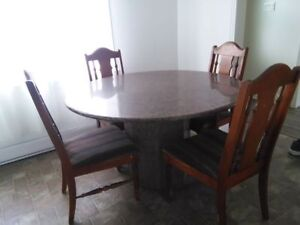 Solid Marble Table & Chairs