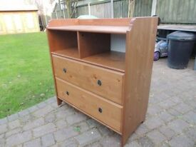 RRP £140 - Ikea Leksvik Baby Changing Pine unit with 2 drawers , shelf and Top extension