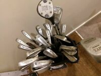 Mixed set of clubs and balls, used and range of conditions, still usable, right handed