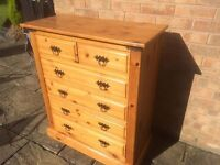 Solid pine chest of drawers 4+2